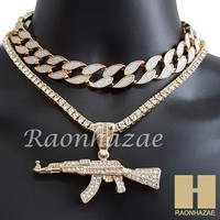 "Hip Hop Iced Out Gold AK47 Gun Pendant 16"" Iced Out Choker 18"" Tennis Chain 9"