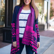 Stay A While Cardigan, Navy-Pink