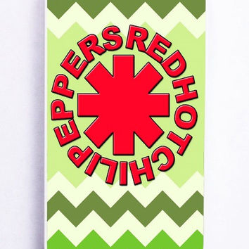 iPhone 5S Case - Rubber TPU Cover with Red Hot Chili Peppers Green Chevron Rubber Case Design