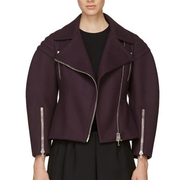 Alexander Mcqueen Purple Wool Biker Jacket