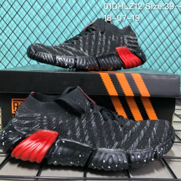 AUGUAU A048 Adidas Superstar II 2018 Summer Low Breathable Knit Running Shoes Black Red