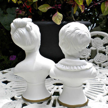 Vintage French Bust Statues, Bisque Statue, French Bust, Marie Antionette, Child Statue
