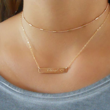 Set Of 2  Gold Necklaces, Gold Choker Necklace Set, Engraved Bar Necklace, Gold Collar Necklace, Name Bar Necklace Set, #413