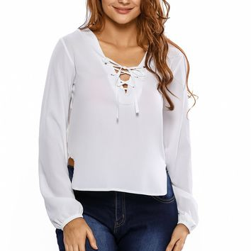White Lace Up Side Split Plunge Blouse