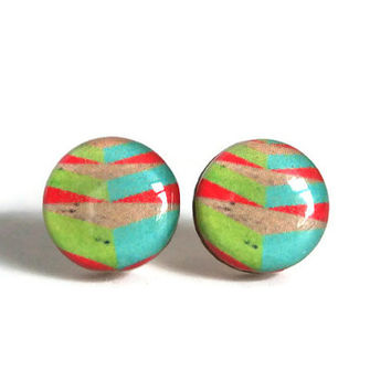 Chevron Stud Earrings - FREE shipping to USA chevron earring resin studs wood resin post earrings bright pink light green blue small stud