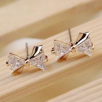 Gold and Diamond Bow Rhinestone Earrings | LilyFair Jewelry