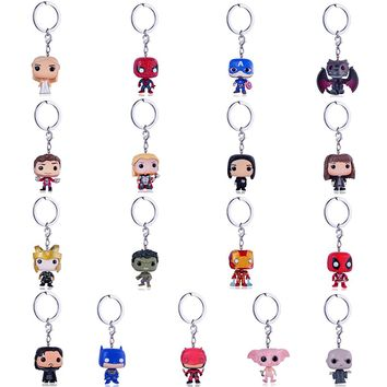 Funko Pop Harri Potter Keychain Marvel Captain America Movie Anime Key chain iron Man Figure Game of Thrones Key ring Kid Toy