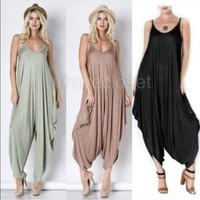 NEW Women Harem Palazzo Oversized Drape Jumpsuit Romper Jumper Dress S, M L