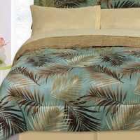 8PC Nile Jungle Aqua/ Brown/ Tan Reversible Full Bed Set