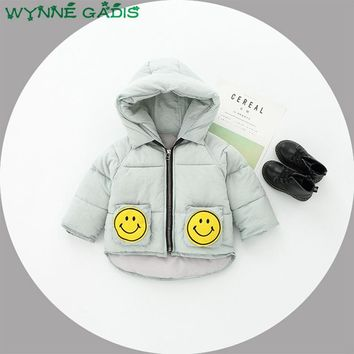 Winter Baby Girls Cartoon Smiling Face Hooded Thick Warm Cotton Jacket Coat Kids Outerwear Infant Boys Snow Wear Parkas casaco