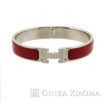 Authentic HERMES Click Crack PM H Bracelet Bordeaux Bangle Accessory Used