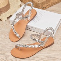 Leather Rhinestone Czech Thongs Sandals