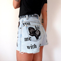 Lou Reed Vicious High Waisted Denim Shorts Velvet Underground Stencil Size 26 27