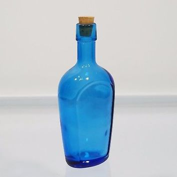 Wheaton Blue Glass Bottle Front Panel 6 inch Flask Bottle USA Vintage Glassware