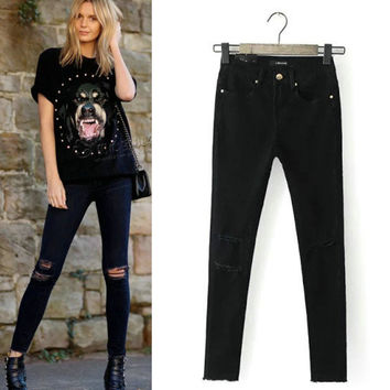 Stretch Slim High Rise Pants Ripped Holes Black Denim Pencil Pants Jeans [4918733316]