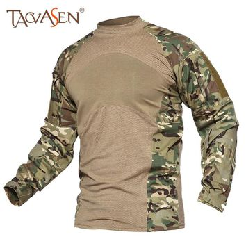 TACVASEN Camouflage Army Tactical T-Shirt Men Long Sleeve Combat T-Shirt Outdoor Hiking Hunting Shooting Male tshirts SH-SHMG-01