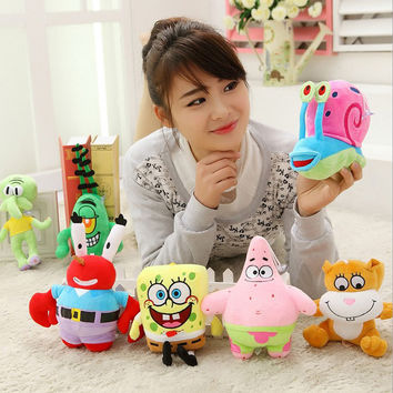 A set 7pcs SpongeBob high-quality Plush Toys Stuffed dolls Sponge Bob Patrick Crab Plankton Octopus Snail kids toys gift