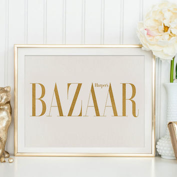 BAZAAR PRINT Bazaar Cover Fashion Wall Art Fashion Poster Fashion Magazine Print Vintage Vogue Cover Fashion Print Printable Art