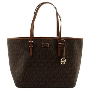 DCCKUG3 MICHAEL KORS Jet Set Signature Carryall PVC Large Tote Shopper Bag in Brown