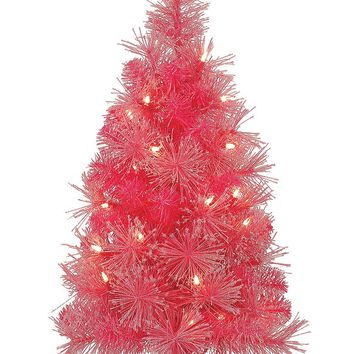 "Lighted Pink Mini Fake Christmas Tree with Lights - 24"" Tall"
