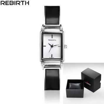 REBIRTH Quartz Brand Lady Watches Women Luxury Rose Gold Antique Square Casual Leather Dress Wrist watch
