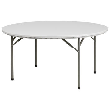 60'' Round Granite White Plastic Folding Table
