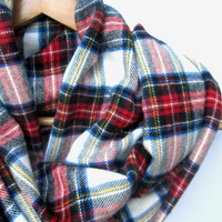 Red White Blue Plaid Infinity Scarf // Plaid Scarf // Fall Plaid // Winter Scarf // Fall Scarf // Plaid Accessories // Unisex Scarf //