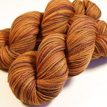 Hand Dyed Yarn - Lace Weight Superwash Merino Wool Yarn - Nutmeg Multi - Knitting Yarn, Lace Yarn, Wool Yarn, Gold Brown Orange Autumn