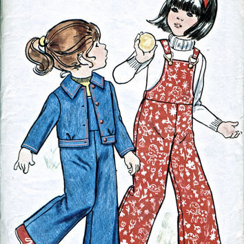Child's Dungarees / Overalls & Jacket - Butterick 3453 - Unused Vintage Sewing Pattern - Chest 25 Inch