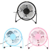 Portable Metal 4-inch Small Desk Fan USB Mini Fans Quiet Operation for PC/Laptop/Notebook Black/Blue/Pink FW1S