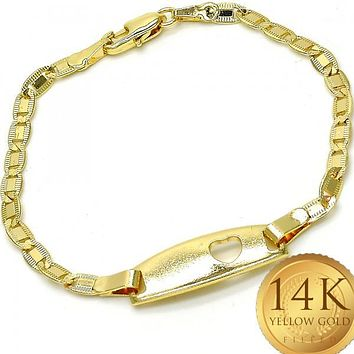Gold Layered Boys and Girls Heart ID Bracelet, by Folks Jewelry