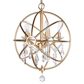 5 Light Modern Crystal Orb Plug-In Chandelier (Gold)