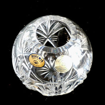 Vintage Crystal Rose Bowl, Bohemia Hand Cut,  Czech Crystal, Small Crystal Ball Vase, Mint Condition