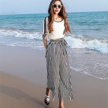 Pants Round-neck Tops Stripes Set Sea Vacation Bohemia Bottom & Top [10356660941]
