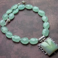 Shimmering Hints of Mint / Agate Druzy Pend, Facected Quartz Nuggets