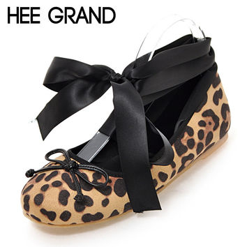 HEE GRAND Leopard Ballet Flats 2017 Lace-Up Loafers Casual Bowtie Shoes Woman Round Toe Women Flat Shoes Plus Size 35-43 XWD5276