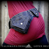 Festival Utility Hip Belt Bag ~ Burning Man Pocket Belt ~ Vegan Non-Leather ~ can adjust to extra large ~ Talismana Designs