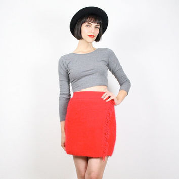 Vintage 80s Skirt Red Skirt Mini Skirt Fuzzy Sweater Skirt Fringe Trim Knit Skirt Bandage Skirt Bodycon Jumper Knit Skirt Clueless S Small