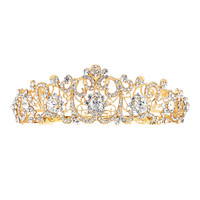 Golden Scrolls Crystal Bridal Tiara