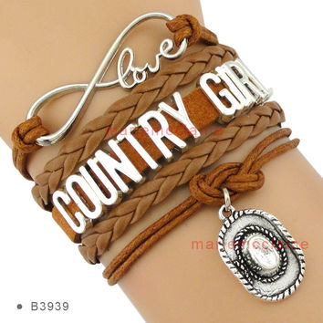 (10 Pieces/Lot) Country Girl Infinity Love Cowboys Hat Charm Bracelets For Women Men Girls Brown Suede Leather Gift Custom