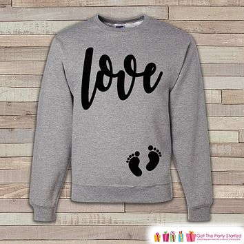 Valentine's Day Pregnancy Reveal - Love Script, Baby Feet - Pregnancy Announcement - Valentine's Day Pregnancy Reveal - Pregnancy Shirt