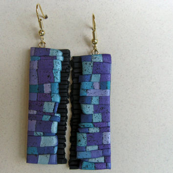 The Wall Art Long Earrings in 3D Aqua, Purple and Green Polymer Clay. Earth Charity 100%
