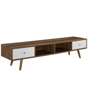 """Transmit 70"""" Media Console Wood TV Stand Walnut White EEI-3302-WAL-WHI"""