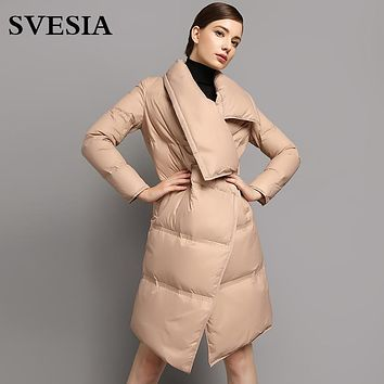 Winter Goose Down Coats jackets women 2017 fashion new high quality turn down collar Asymmetric female casual parka for women