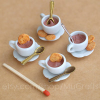 HOT CHOCOLATE cup on plate, with biscuits and spoon - playscale dollhouse, roombox, diorama miniature, 1/6 BJD doll prop