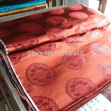 chinese silk brocade  fabric cheongsam cushion red coffee 12CM Circle chinese RUYI pattern Tapestry satin