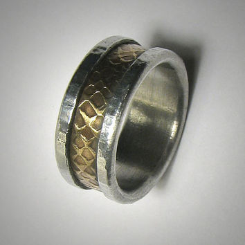Mens wedding band Rustic Mens Ring Promise Ring Hammered Ring 14k Gold and Silver Ring Mens wedding Ring Unique Mens Ring Rustic Ring