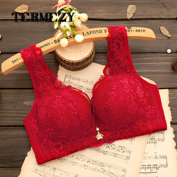 Plus size Push up Ultra thin Sexy Full Lace Coverage Flower Adjustable Bras 70-90 A B C Cup Bras Big Size Free Shipping
