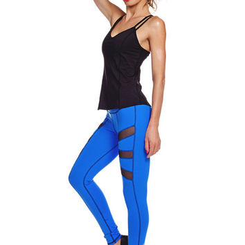 FEATURED SALE - Sky Blue Yoga Legging - Compression Clothing - Activewear - Yoga Apparel - Side Plank Legging -  B014