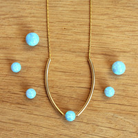Opal necklace / Simple gold necklace / opal bead necklace / ball opal necklace / art deco necklace / blue opal 6mm necklace / opal jewelry